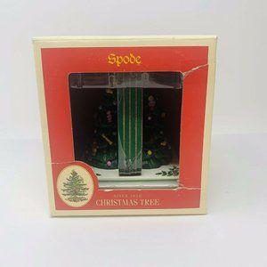 Spode Christmas Tree Coaster set with holder NIB